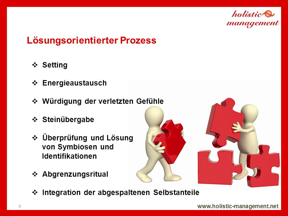 Lösungsorientierter Prozess www.holistic-management.net Setting Energieaustausch Würdigung der verletzten Gefühle Steinübergabe Überprüfung und Lösung