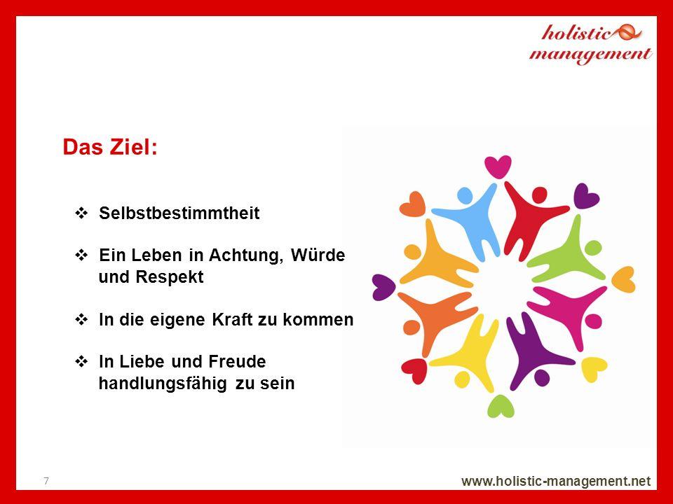Das Ziel: www.holistic-management.net Selbstbestimmtheit Ein Leben in Achtung, Würde und Respekt In die eigene Kraft zu kommen In Liebe und Freude han