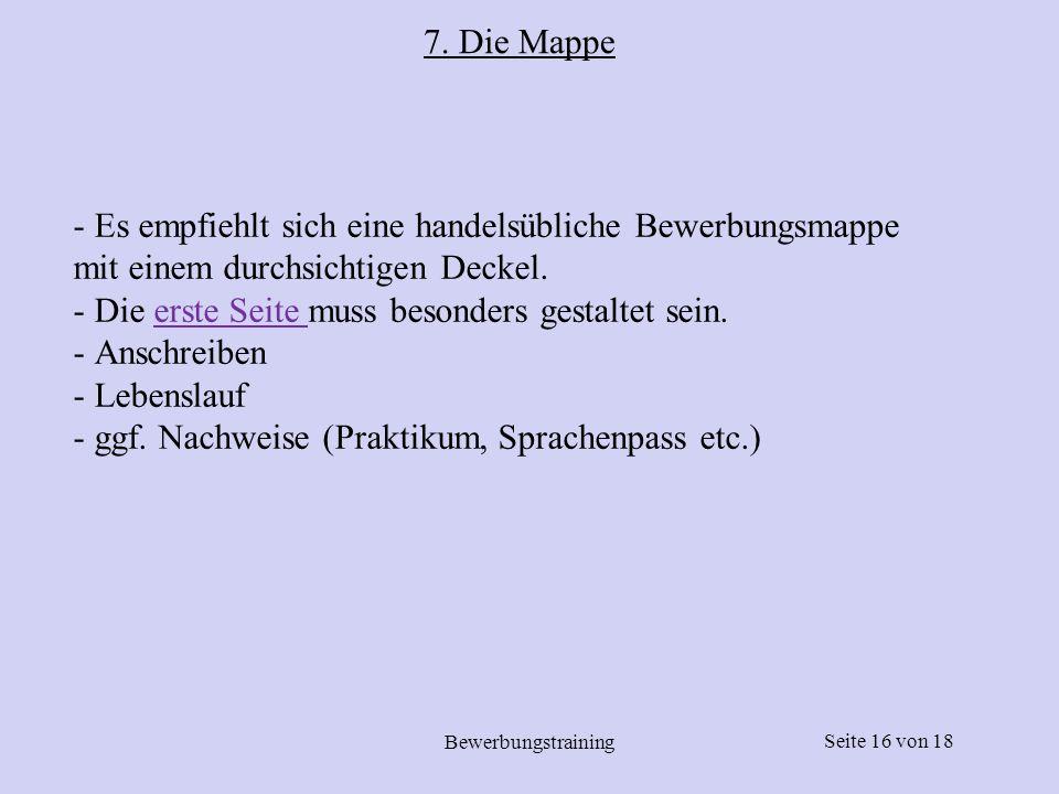 Seite 17 von18 Bewerbungstraining 7.