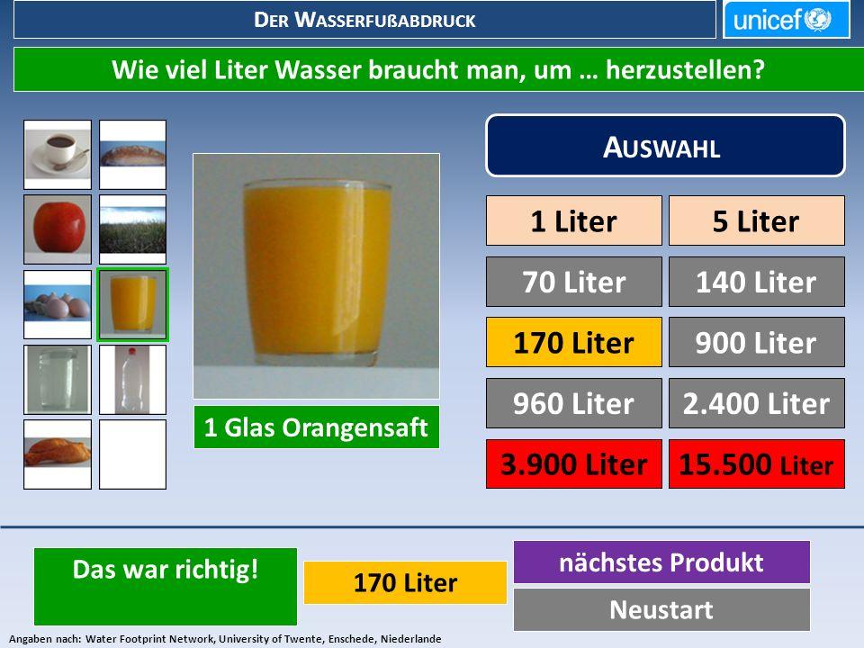D ER W ASSERFUßABDRUCK Wie viel Liter Wasser braucht man, um … herzustellen.