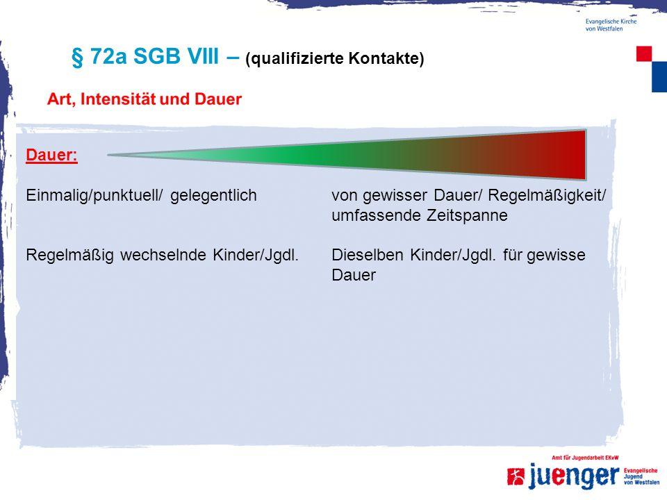 § 72a SGB VIII – (qualifizierte Kontakte) Dauer: Einmalig/punktuell/ gelegentlich Regelmäßig wechselnde Kinder/Jgdl. von gewisser Dauer/ Regelmäßigkei