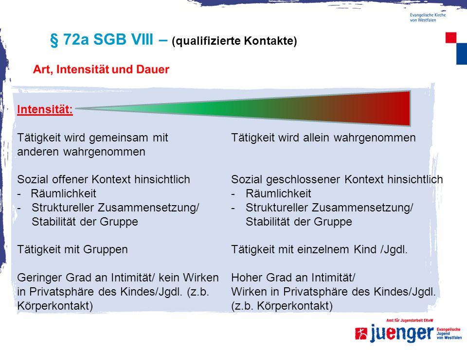 § 72a SGB VIII – (qualifizierte Kontakte) Intensität: Tätigkeit wird gemeinsam mit anderen wahrgenommen Sozial offener Kontext hinsichtlich - Räumlich