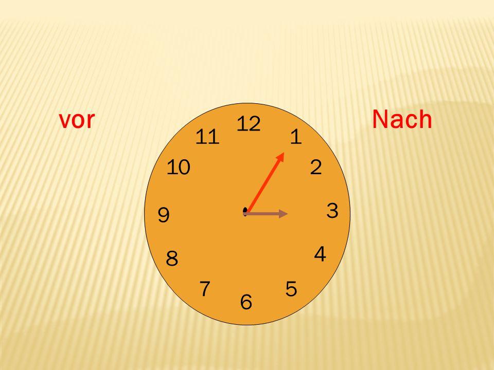 12 9 3 6 1 2 4 57 8 10 11 : 412 ES ist zwölf nach vier.