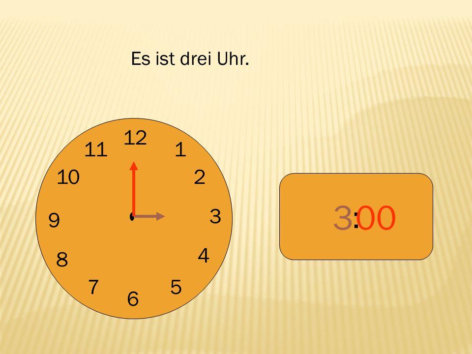 12 9 3 6 1 2 4 57 8 10 11 : 655 Es ist fünf vor sieben.
