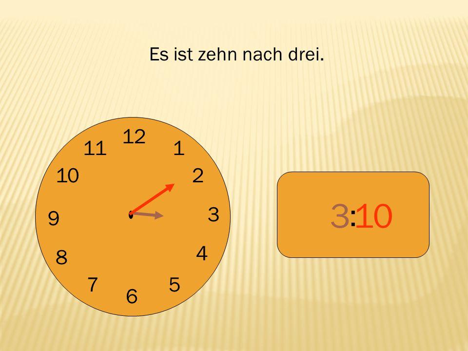 12 9 3 6 1 2 4 57 8 10 11 : 455 Es ist fünf vor fünf.