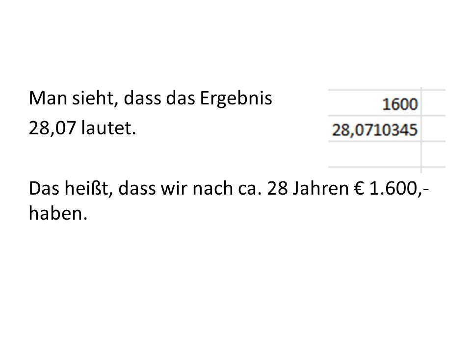 Man sieht, dass das Ergebnis 28,07 lautet. Das heißt, dass wir nach ca. 28 Jahren 1.600,- haben.
