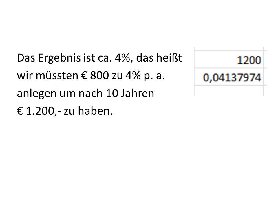 Das Ergebnis ist ca. 4%, das heißt wir müssten 800 zu 4% p. a. anlegen um nach 10 Jahren 1.200,- zu haben.