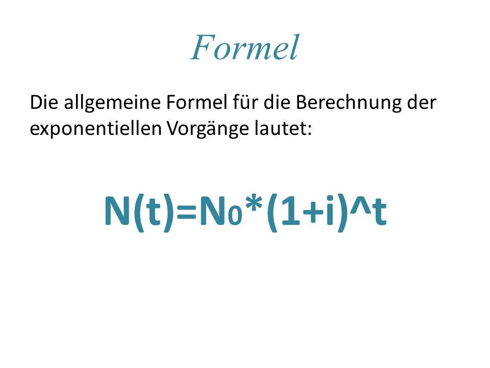 Formel Die allgemeine Formel für die Berechnung der exponentiellen Vorgänge lautet: N(t)=N 0 *(1+i)^t