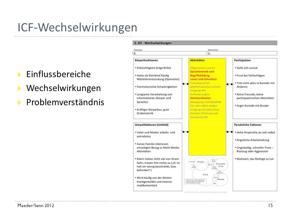 Beobachtungen, Fördermöglichkeiten 14Maeder/Senn 2012