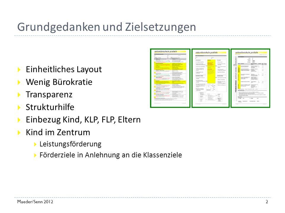 Ablauf Grundgedanken und Zielsetzungen Förderdiagnostik nach ICF Praxismodell Erfahrungen 1Maeder/Senn 2012