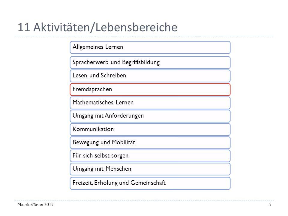 Modell - Wechselwirkungen Modell der Funktionsfähigkeit und Behinderung (Lienhard-Tuggener et al. 2011, 100) 4Maeder/Senn 2012