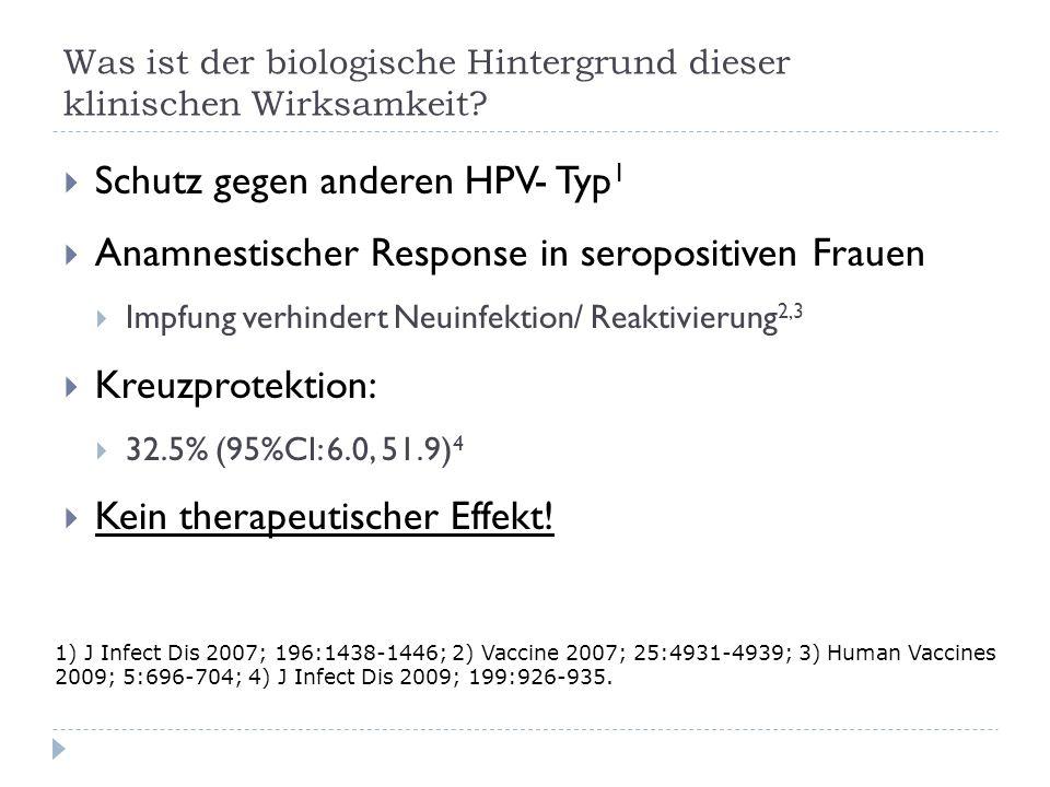 Was ist der biologische Hintergrund dieser klinischen Wirksamkeit? Schutz gegen anderen HPV- Typ 1 Anamnestischer Response in seropositiven Frauen Imp