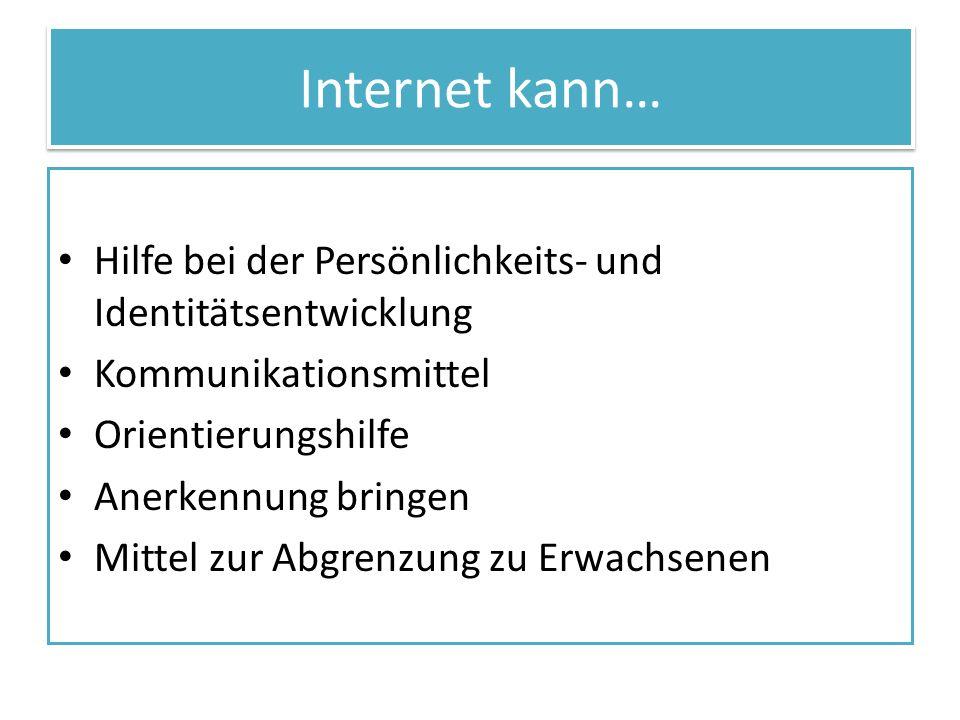 Internet kann… Hilfe bei der Persönlichkeits- und Identitätsentwicklung Kommunikationsmittel Orientierungshilfe Anerkennung bringen Mittel zur Abgrenz