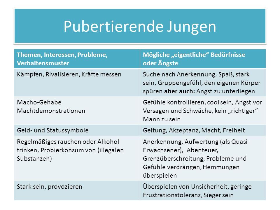 Pubertierende Jungen Themen, Interessen, Probleme, Verhaltensmuster Mögliche eigentliche Bedürfnisse oder Ängste Kämpfen, Rivalisieren, Kräfte messenS