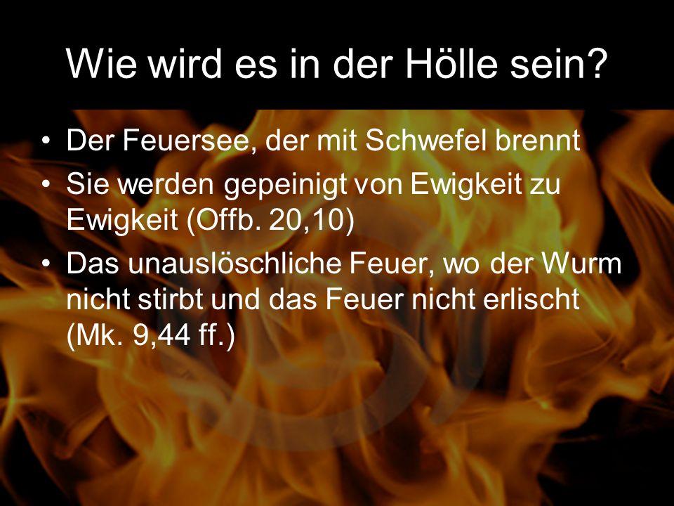 Wie wird es in der Hölle sein? Der Feuersee, der mit Schwefel brennt Sie werden gepeinigt von Ewigkeit zu Ewigkeit (Offb. 20,10) Das unauslöschliche F
