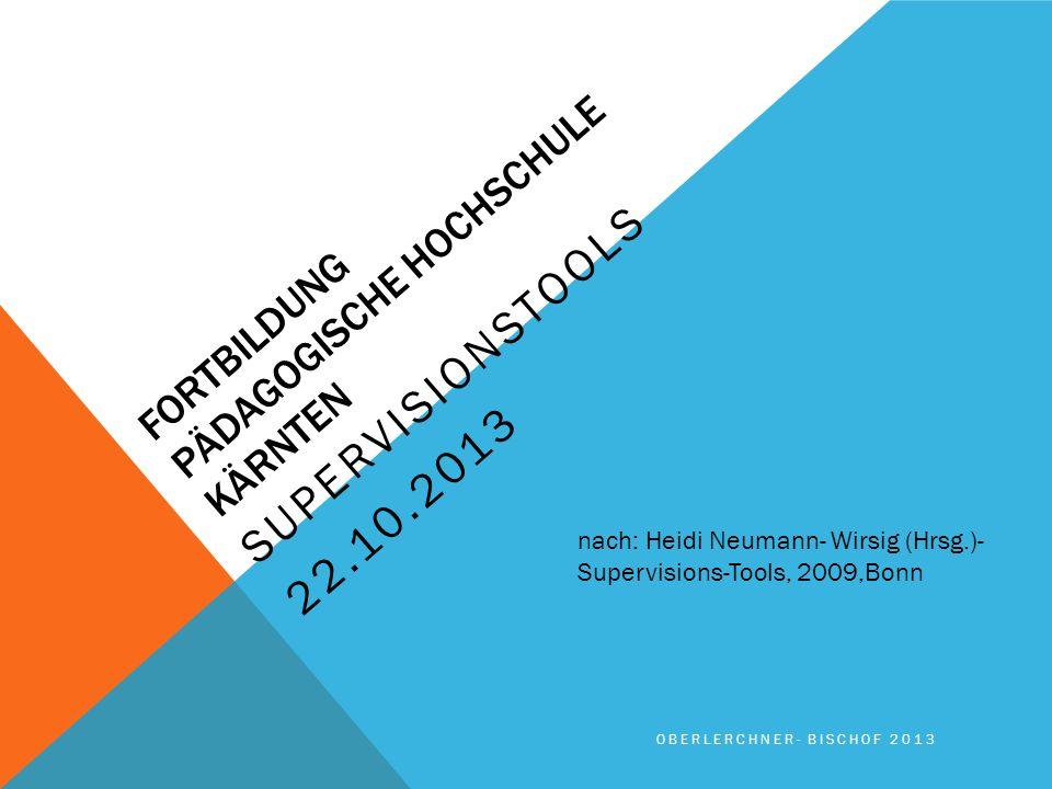 FORTBILDUNG PÄDAGOGISCHE HOCHSCHULE KÄRNTEN SUPERVISIONSTOOLS 22.10.2013 OBERLERCHNER- BISCHOF 2013 nach: Heidi Neumann- Wirsig (Hrsg.)- Supervisions-