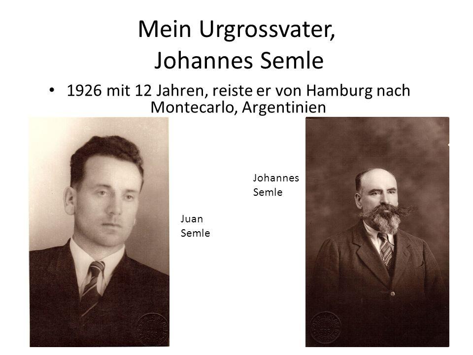 Mein Urgrossvater, Johannes Semle 1926 mit 12 Jahren, reiste er von Hamburg nach Montecarlo, Argentinien Johannes Semle Juan Semle