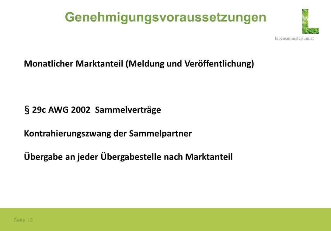 Seite 12 Genehmigungsvoraussetzungen Monatlicher Marktanteil (Meldung und Veröffentlichung) § 29c AWG 2002 Sammelverträge Kontrahierungszwang der Samm