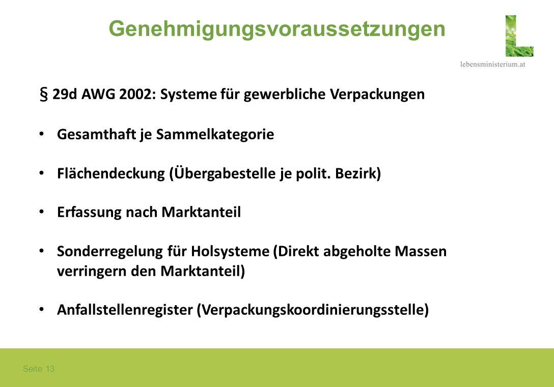 Seite 13 Genehmigungsvoraussetzungen § 29d AWG 2002: Systeme für gewerbliche Verpackungen Gesamthaft je Sammelkategorie Flächendeckung (Übergabestelle