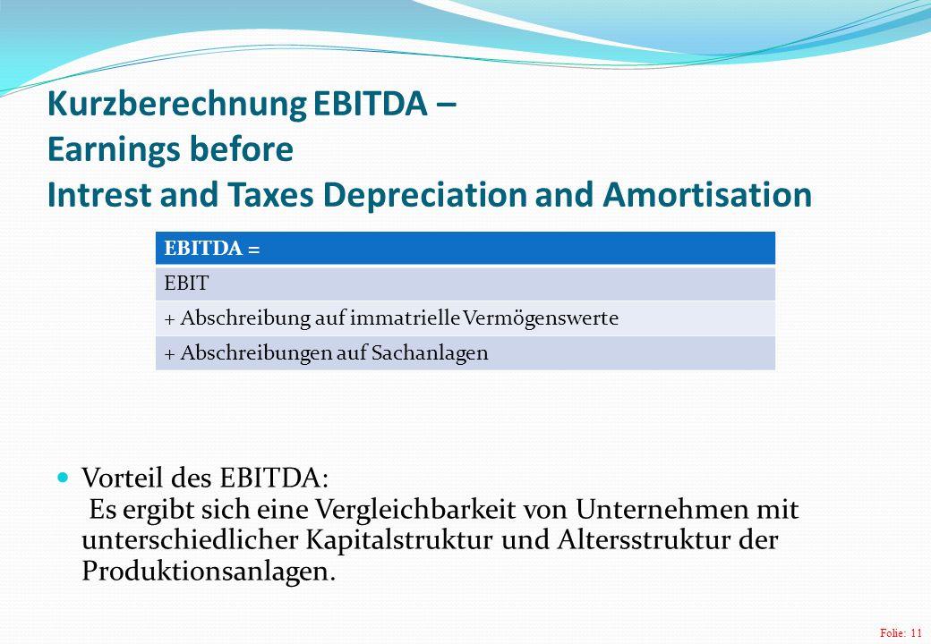 Folie: 11 Kurzberechnung EBITDA – Earnings before Intrest and Taxes Depreciation and Amortisation Vorteil des EBITDA: Es ergibt sich eine Vergleichbar