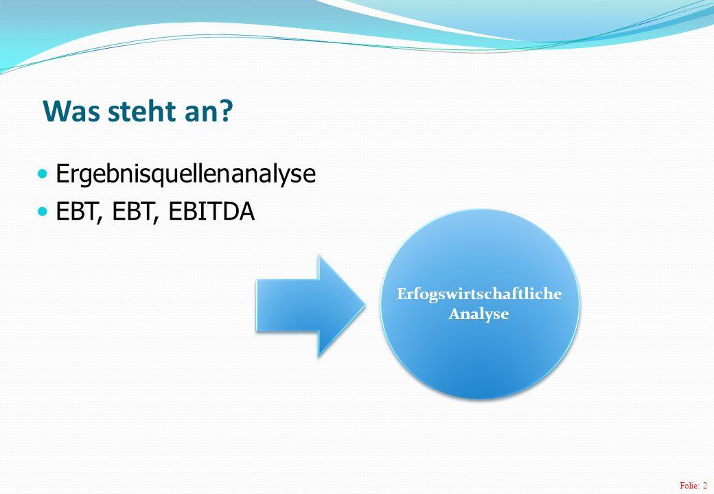 Folie: 2 Ergebnisquellenanalyse EBT, EBT, EBITDA Was steht an? Erfogswirtschaftliche Analyse Erfogswirtschaftliche Analyse
