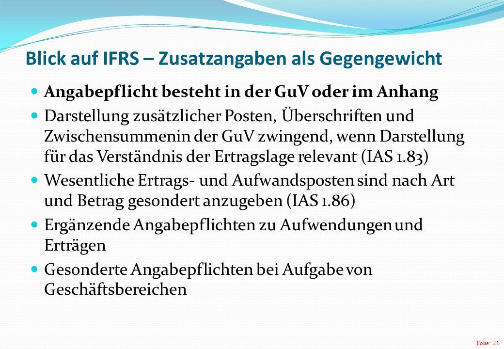 Folie: 21 Blick auf IFRS – Zusatzangaben als Gegengewicht Angabepflicht besteht in der GuV oder im Anhang Darstellung zusätzlicher Posten, Überschrift