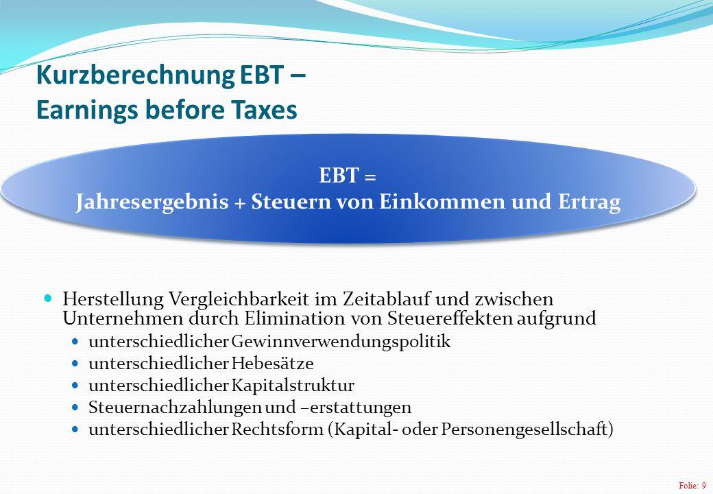 Folie: 9 Kurzberechnung EBT – Earnings before Taxes Herstellung Vergleichbarkeit im Zeitablauf und zwischen Unternehmen durch Elimination von Steueref