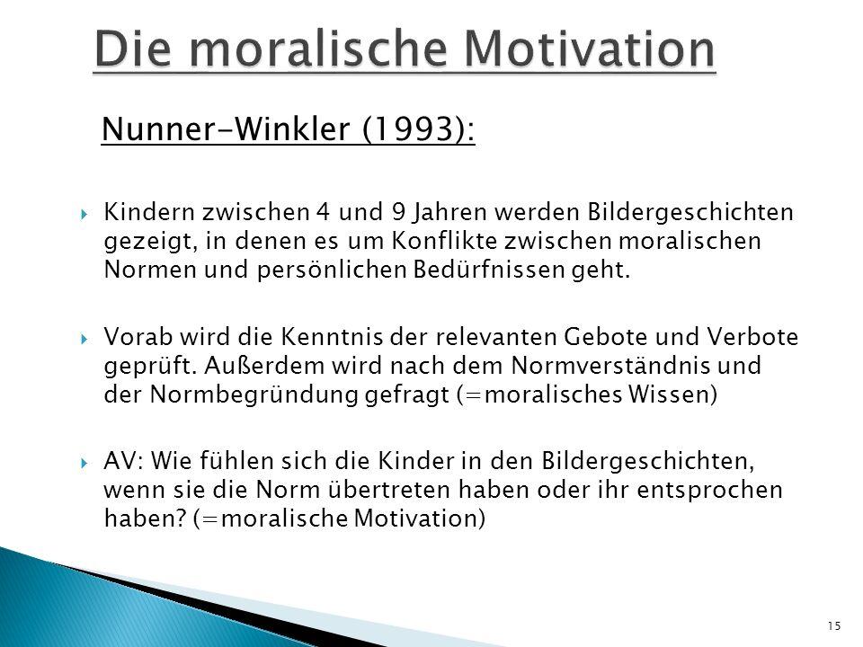 Nunner-Winkler (1993): Kindern zwischen 4 und 9 Jahren werden Bildergeschichten gezeigt, in denen es um Konflikte zwischen moralischen Normen und pers