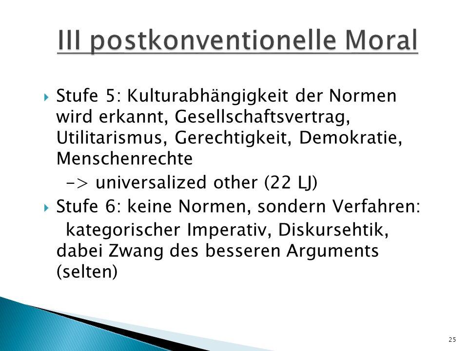 Stufe 5: Kulturabhängigkeit der Normen wird erkannt, Gesellschaftsvertrag, Utilitarismus, Gerechtigkeit, Demokratie, Menschenrechte -> universalized o