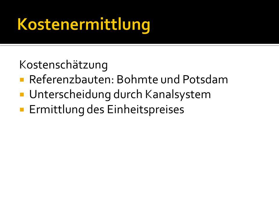 Kostenschätzung Referenzbauten: Bohmte und Potsdam Unterscheidung durch Kanalsystem Ermittlung des Einheitspreises