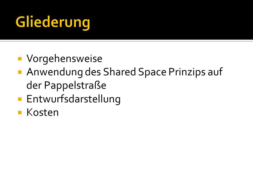 Vorgehensweise Anwendung des Shared Space Prinzips auf der Pappelstraße Entwurfsdarstellung Kosten