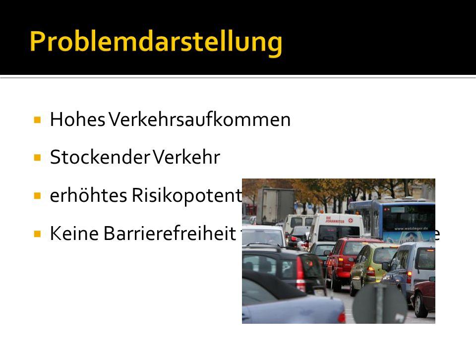Erhöhung der Verkehrssicherheit Erhöhung der Attraktivität Verbesserung des Verkehrsflusses Reduzierung der Verkehrsbeschilderung/ Straßenmarkierungen Bildung einer barrierefreien Zone