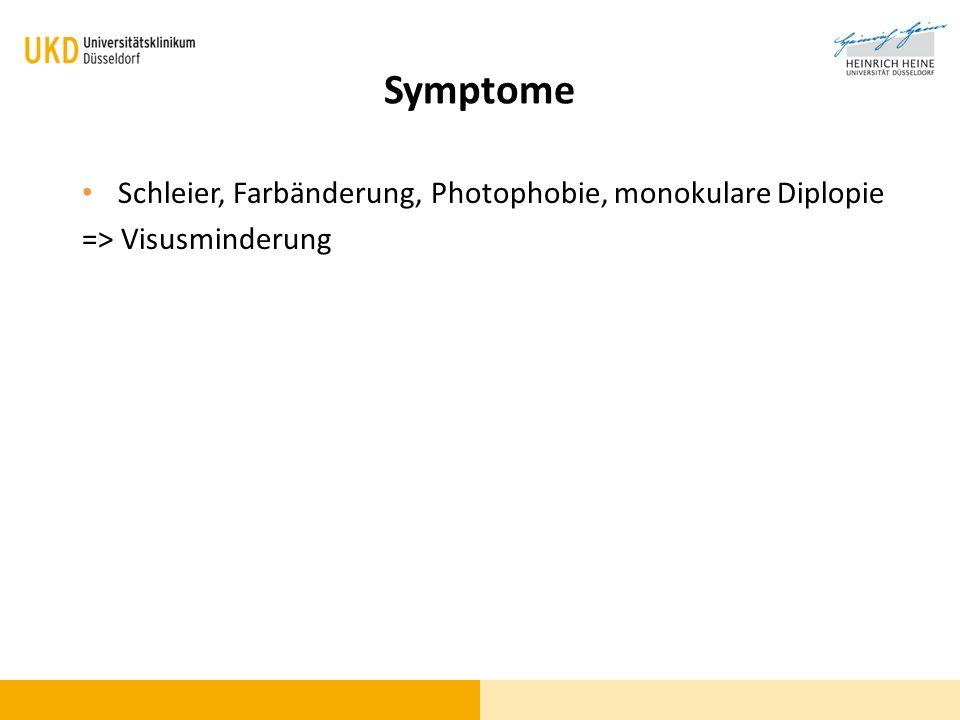 Symptome Schleier, Farbänderung, Photophobie, monokulare Diplopie => Visusminderung