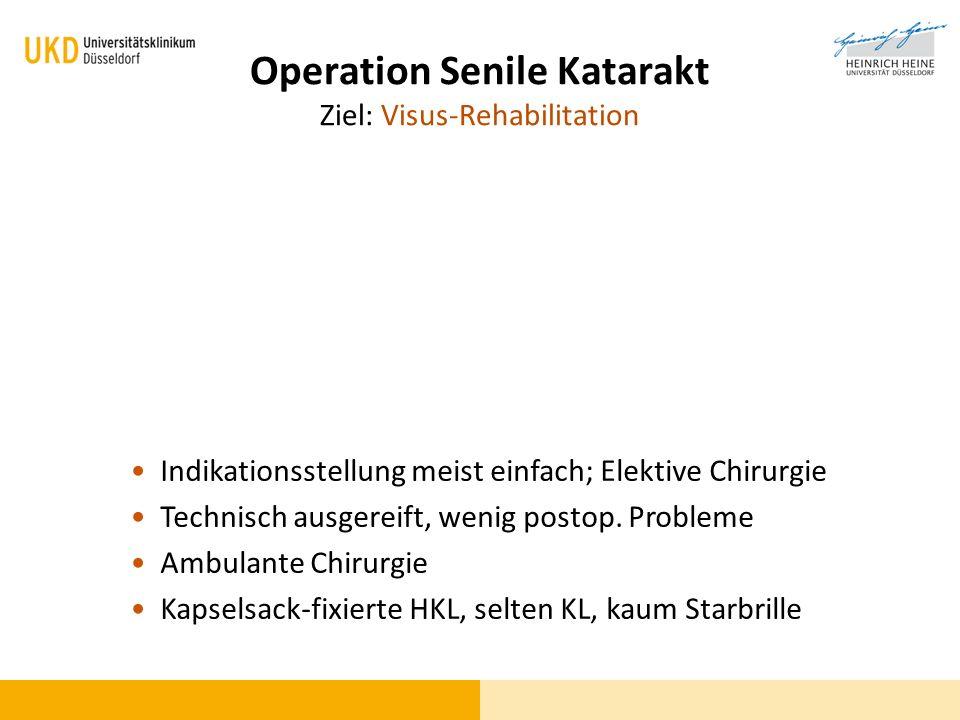 Operation Senile Katarakt Ziel: Visus-Rehabilitation Indikationsstellung meist einfach; Elektive Chirurgie Technisch ausgereift, wenig postop. Problem
