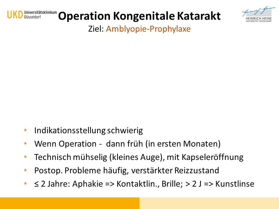 Operation Kongenitale Katarakt Ziel: Amblyopie-Prophylaxe Indikationsstellung schwierig Wenn Operation - dann früh (in ersten Monaten) Technisch mühse