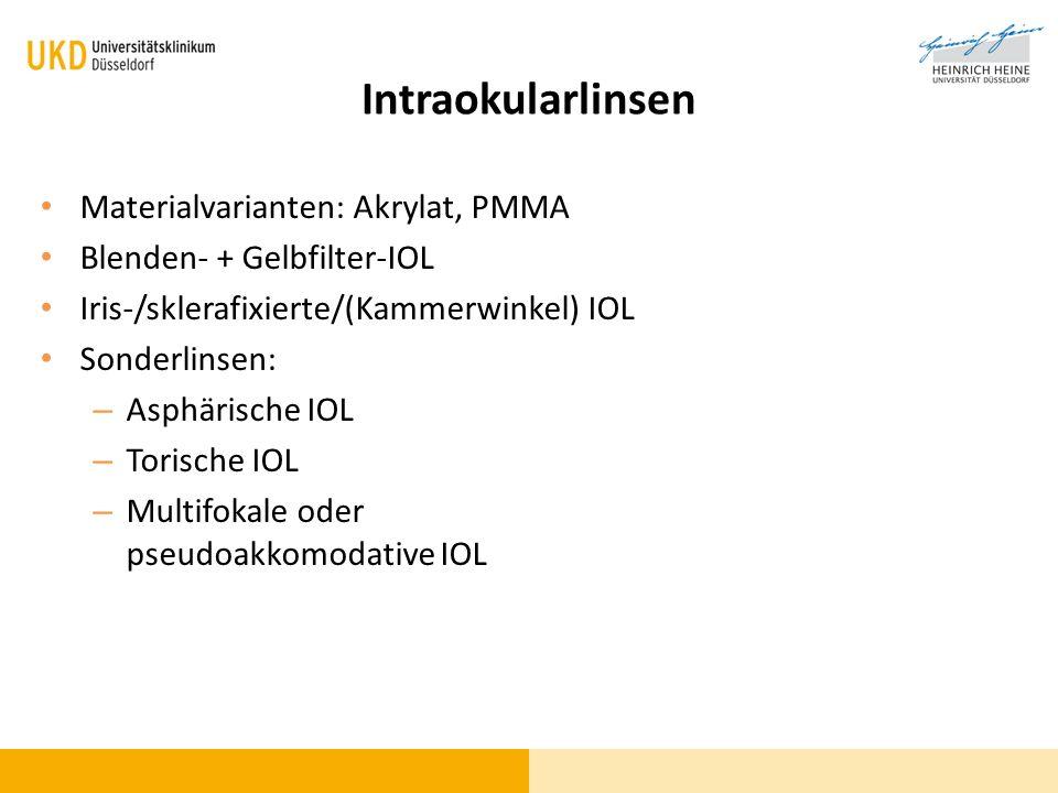 Intraokularlinsen Materialvarianten: Akrylat, PMMA Blenden- + Gelbfilter-IOL Iris-/sklerafixierte/(Kammerwinkel) IOL Sonderlinsen: – Asphärische IOL –