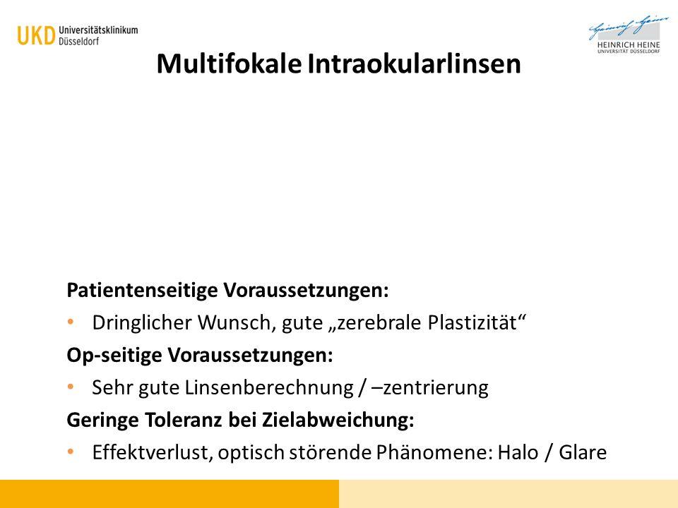 Multifokale Intraokularlinsen Patientenseitige Voraussetzungen: Dringlicher Wunsch, gute zerebrale Plastizität Op-seitige Voraussetzungen: Sehr gute L