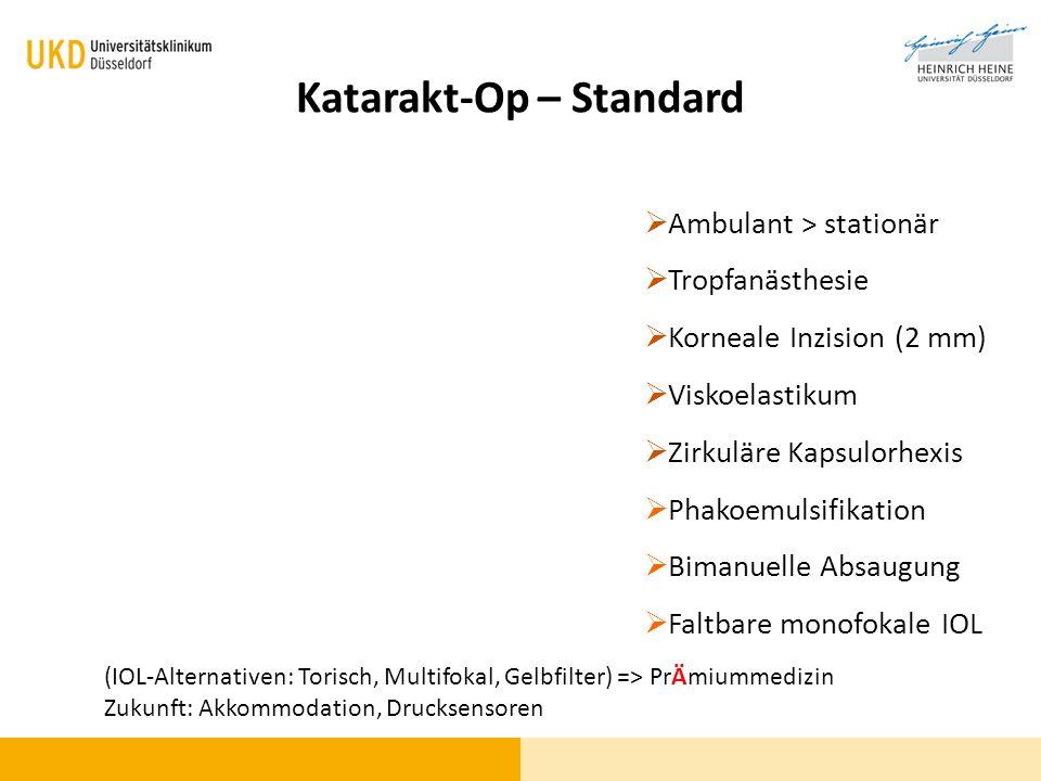 Katarakt-Op – Standard Ambulant > stationär Tropfanästhesie Korneale Inzision (2 mm) Viskoelastikum Zirkuläre Kapsulorhexis Phakoemulsifikation Bimanu