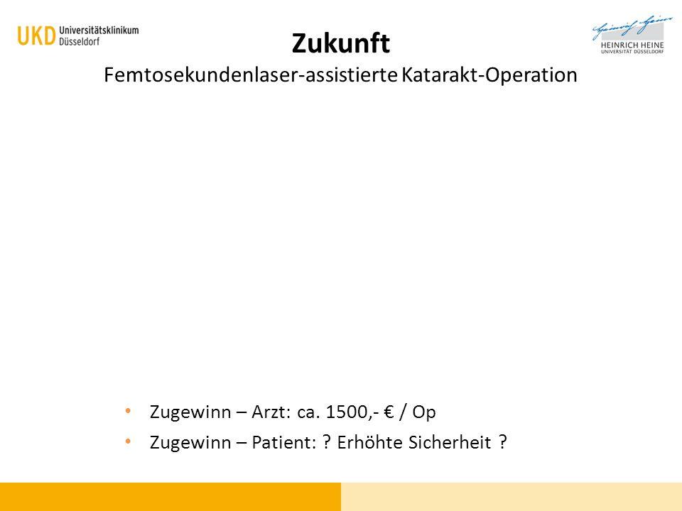 Zukunft Femtosekundenlaser-assistierte Katarakt-Operation Zugewinn – Arzt: ca. 1500,- / Op Zugewinn – Patient: ? Erhöhte Sicherheit ?