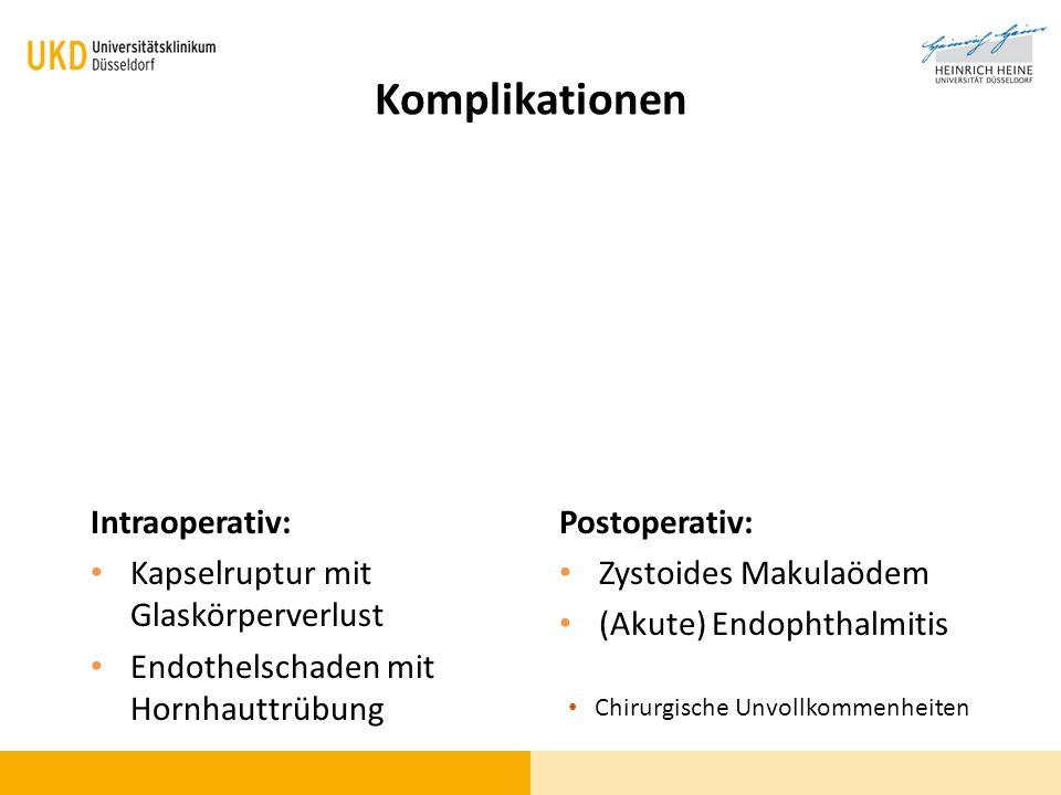Komplikationen Intraoperativ: Kapselruptur mit Glaskörperverlust Endothelschaden mit Hornhauttrübung Postoperativ: Zystoides Makulaödem (Akute) Endoph