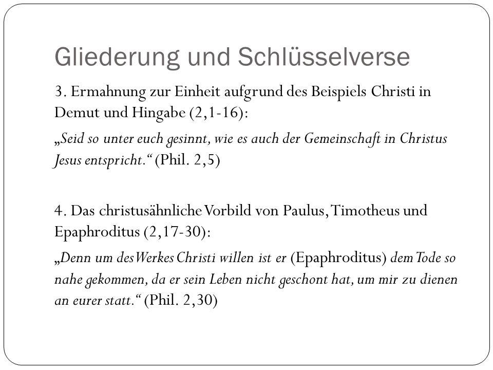 Gliederung und Schlüsselverse 3. Ermahnung zur Einheit aufgrund des Beispiels Christi in Demut und Hingabe (2,1-16): Seid so unter euch gesinnt, wie e
