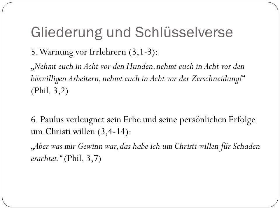 Gliederung und Schlüsselverse 7.