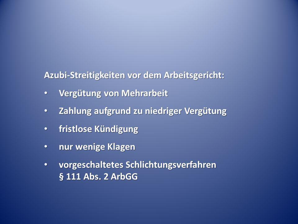 Azubi-Streitigkeiten vor dem Arbeitsgericht: Vergütung von Mehrarbeit Vergütung von Mehrarbeit Zahlung aufgrund zu niedriger Vergütung Zahlung aufgrun