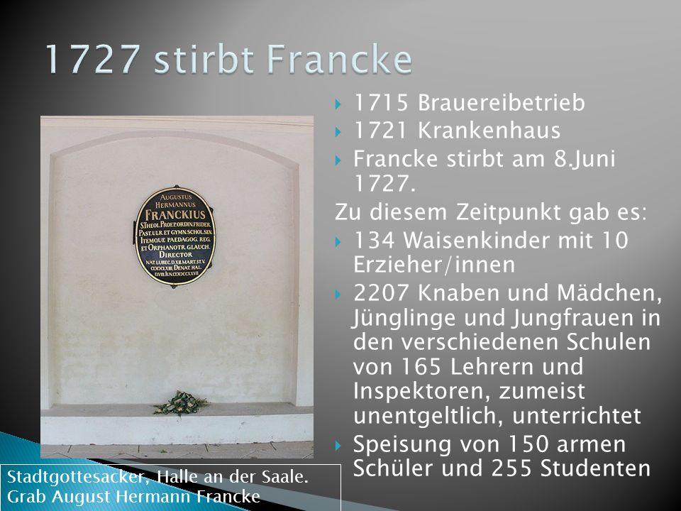 1715 Brauereibetrieb 1721 Krankenhaus Francke stirbt am 8.Juni 1727. Zu diesem Zeitpunkt gab es: 134 Waisenkinder mit 10 Erzieher/innen 2207 Knaben un