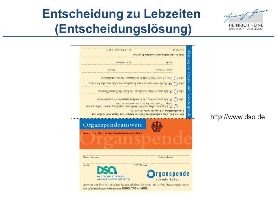 Entscheidung zu Lebzeiten (Entscheidungslösung) http://www.dso.de