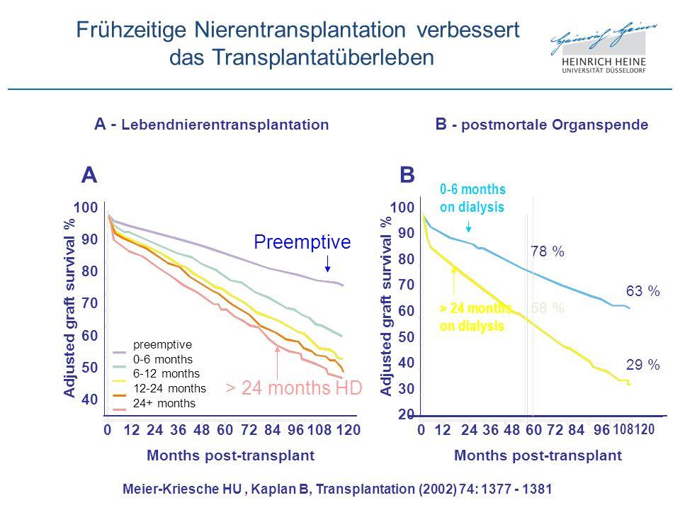 40 50 60 70 80 90 100 01224364860728496108120 Months post-transplant Adjusted graft survival % A 20 40 60 70 80 90 100 Adjusted graft survival % B 30