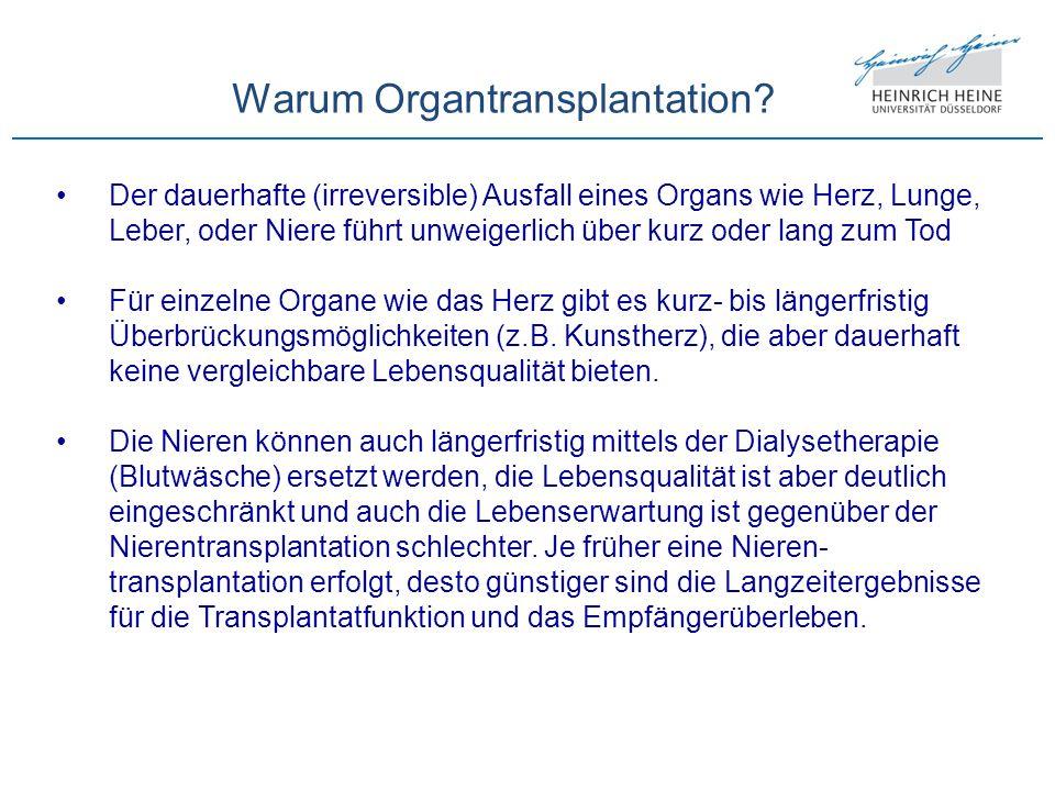 Warum Organtransplantation? Der dauerhafte (irreversible) Ausfall eines Organs wie Herz, Lunge, Leber, oder Niere führt unweigerlich über kurz oder la