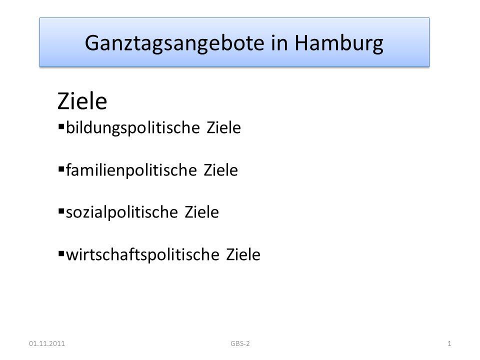 Ganztagsangebote in Hamburg Ziele bildungspolitische Ziele familienpolitische Ziele sozialpolitische Ziele wirtschaftspolitische Ziele 01.11.20111GBS-