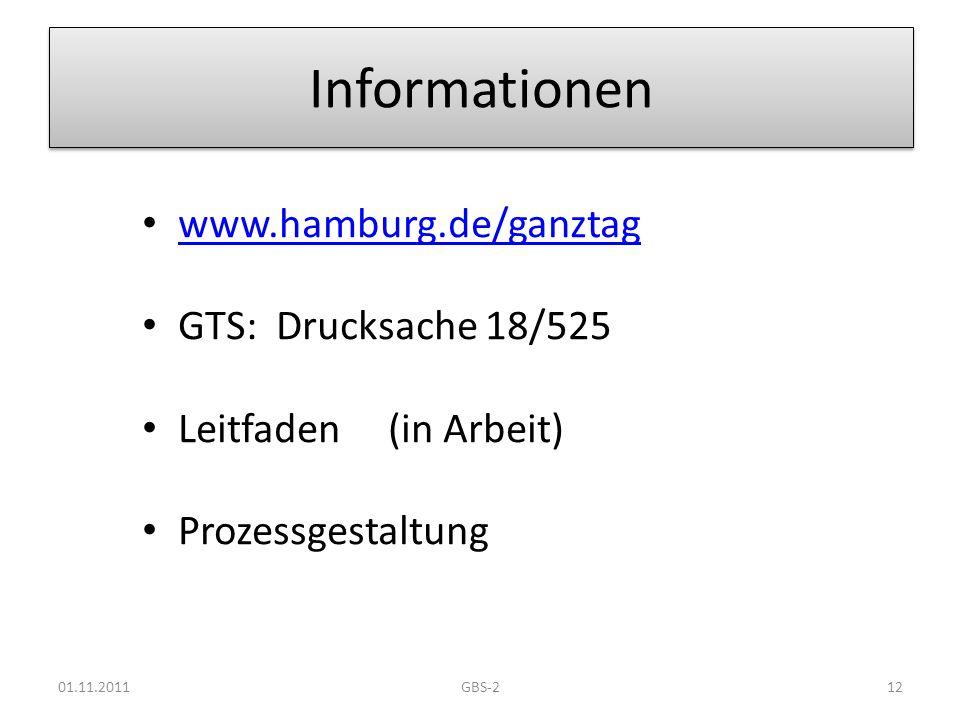 Informationen www.hamburg.de/ganztag GTS: Drucksache 18/525 Leitfaden (in Arbeit) Prozessgestaltung 01.11.201112GBS-2