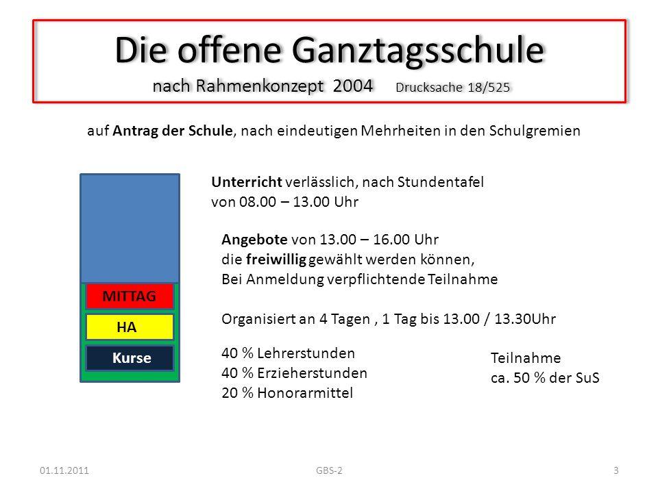 Die offene Ganztagsschule nach Rahmenkonzept 2004 Drucksache 18/525 Unterricht verlässlich, nach Stundentafel von 08.00 – 13.00 Uhr Angebote von 13.00